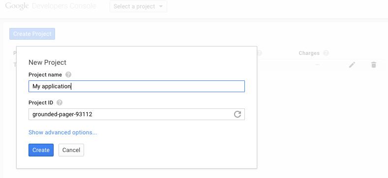 Google Console, create project