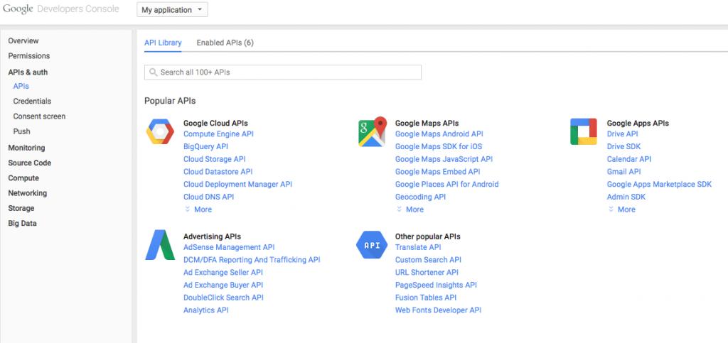 Google Console APIs
