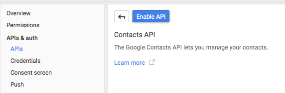 Enable Contacts API Google developers