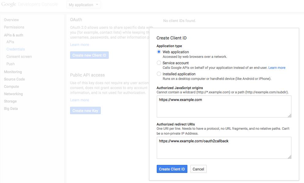 Create Client ID Google API