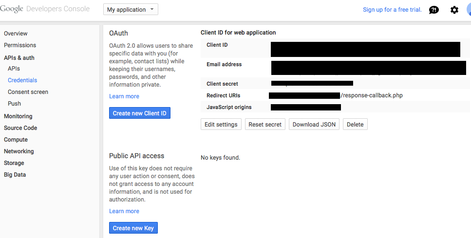 Google API Client ID, Client secret