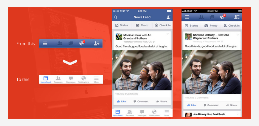 How Facebook switched the hamburger menu