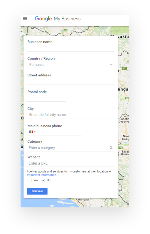 Google My Business - introduce your business information