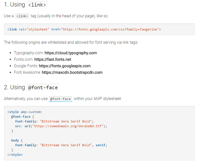 Add fonts usign <link> tag or @font-face